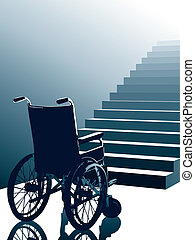 Empty wheel chair and stairs to the light