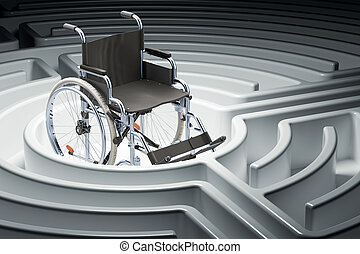 Wheelchair at center of a maze. 3D rendering