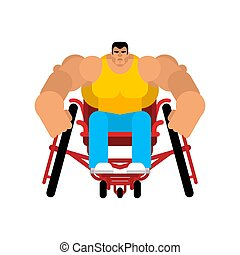 Wheelchair athlete isolated. Sports wheelchair. Disabled Sports. Medical vector illustration