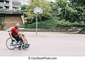 wheelchair basketball , αυλή , παίξιμο , άντραs