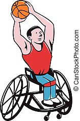 Wheelchair Basketball Player Shooting Ball Cartoon