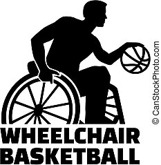 Wheelchair basketball silhouette with word