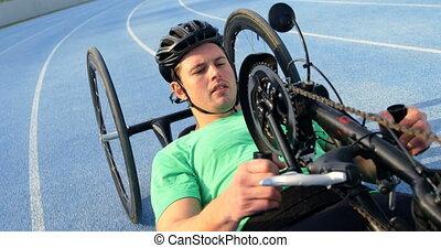 wheelchair biegi, atleta, 4k, niepełnosprawny