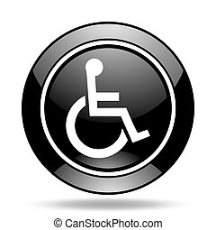 wheelchair black glossy icon