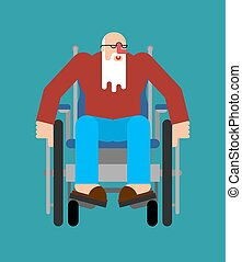 wheelchair., can't, aduelo, caminata, incapacitado, granddad