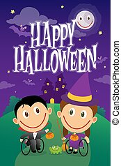 Wheelchair children dressed as vampire and witch on halloween night.