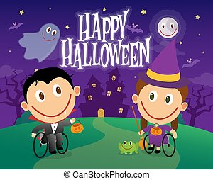 Wheelchair children dressed as vampire and witch on halloween night