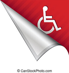 Wheelchair or accessibility icon on vector peeled corner tab suitable for use in print, on websites, or in advertising materials.