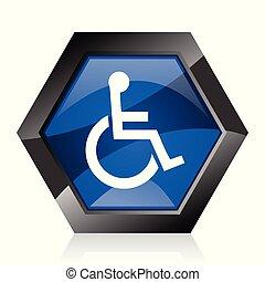 Wheelchair dark blue glossy hexagon geometric diamond vector web icon with reflection on white background. Modern design hexagonal internet button.