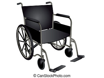 wheelchair. dark wheel chair isolated on white