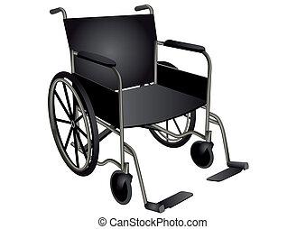wheelchair. dark wheel chair isolated on white
