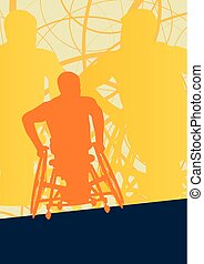 Wheelchair disabled man willpower concept vector background