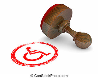 Wheelchair Disabled Person Symbol Disability Stamp Official Approval 3d Illustration