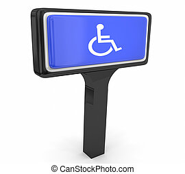 Wheelchair Disabled Person Symbol Disability Store Service Sign 3d Illustration