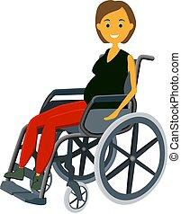 wheelchair.., donna, incinta, seduta