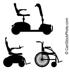 wheelchair for disabled people black outline silhouette stock vector illustration