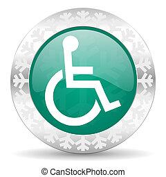 wheelchair green icon, christmas button