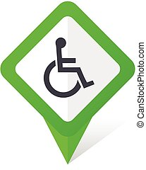 Wheelchair green square pointer vector icon in eps 10 on white background with shadow.