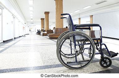 wheelchair hospital corridor