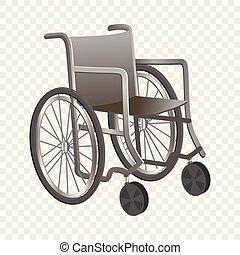 Wheelchair icon, cartoon style