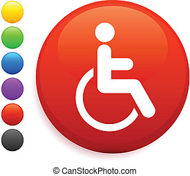 wheelchair icon on round internet button