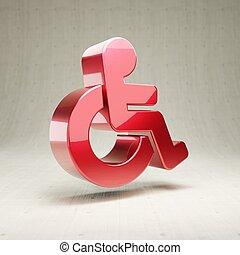 Wheelchair icon. Red glossy metallic University symbol isolated on white concrete background.