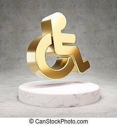 Wheelchair icon. Shiny golden University symbol on white marble podium.