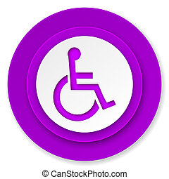 wheelchair icon, violet button