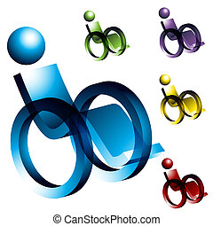 Wheelchair Icons - An image of 3d wheelchair icons.