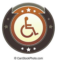 Wheelchair imperial button