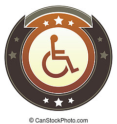 Wheelchair imperial button