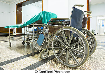Wheelchair in a hospital. No people - Wheelchair in a...