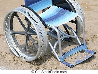wheelchair, jammed, zand