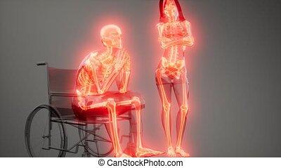 wheelchair, kość, człowiek, widoczny