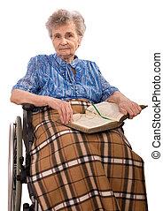 wheelchair, kobieta, starszy