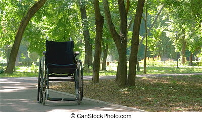 Wheelchair left empty in park - Wheelchair left empty...