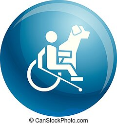 Wheelchair man dog guide icon, simple style