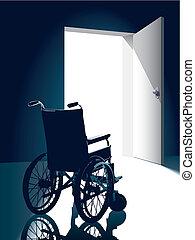 Wheelchair - Open door with an empty wheel chair