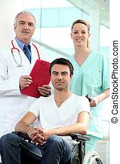 wheelchair, patiënt, verpleegkundige, arts