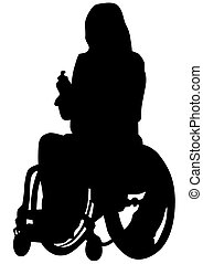 Wheelchair people on white backgrou - Silhouettes wheelchair...