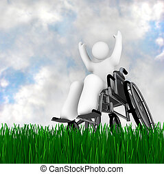 Wheelchair Person Enjoying Outdoors - A person in a...