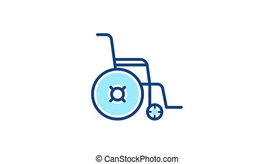 Wheelchair pictogram linear icon. Animation with alpha channel.