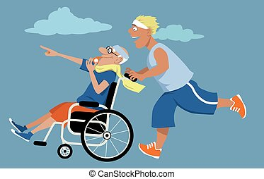 Wheelchair race - Young man running and pushing an elderly...