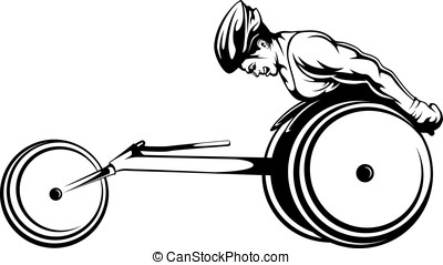Wheelchair Racer - Black and white vector illustration of a...