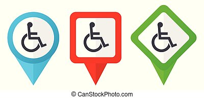 Wheelchair red, blue and green vector pointers icons. Set of colorful location markers isolated on white background easy to edit.
