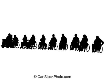 Wheelchair senior people on white
