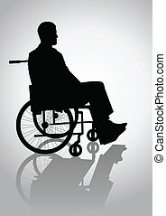 Wheelchair - Silhouette illustration of a person on a ...