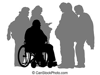 Wheelchair - Silhouettes wheelchair and women on white...