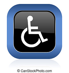 wheelchair square glossy icon