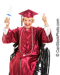 wheelchair, starszy, absolwent